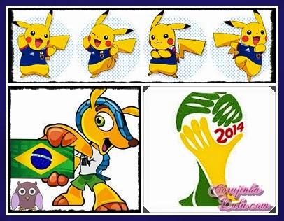 Pikachu e nosso mascote Fuleco - Fifa World Cup Brazil 2014