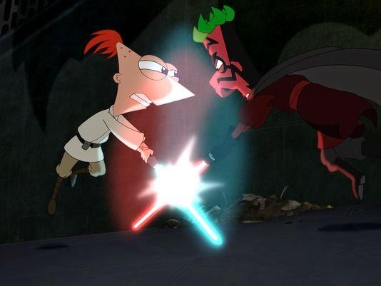 """Phineas e o """"Sith"""" Ferb lutando com as espadas jedi"""