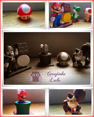 Cogumelo, Mario e moeda, Mario comemorando no tubo e Donkey Kong, mushroom, coin