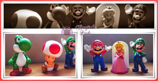 Yoshi, Toad, Mario, Princesa Peach e Luigi super mario bros mc lanche feliz mcdonald's