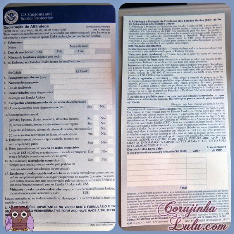 Declaração de alfândega para os Estados Unidos | ©CorujinhaLulu.com