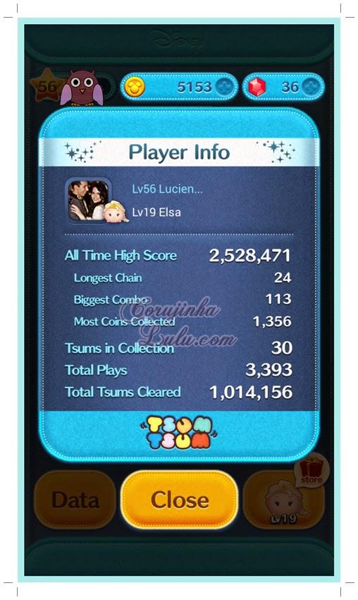 data informações do meu perfil no jogo tsum tsum disney
