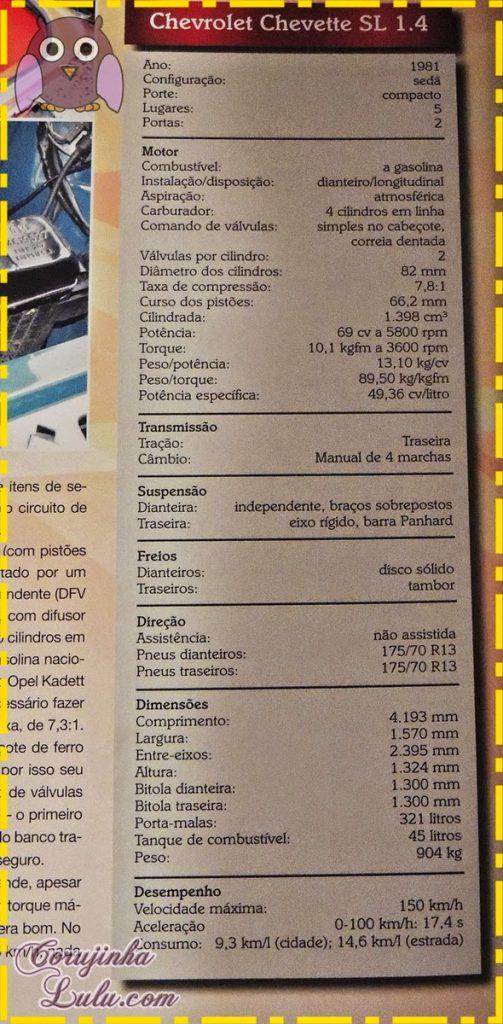 Ficha Técnica do Chevrolet Chevette SL 1.4 - Editora Salvat