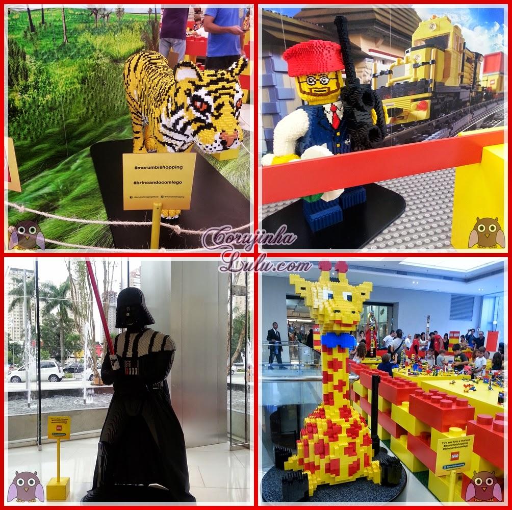 Brincando com Lego no Morumbi Shopping #morumbishopping #brincandocomlego girafa escultura bombeiro darth vader onça