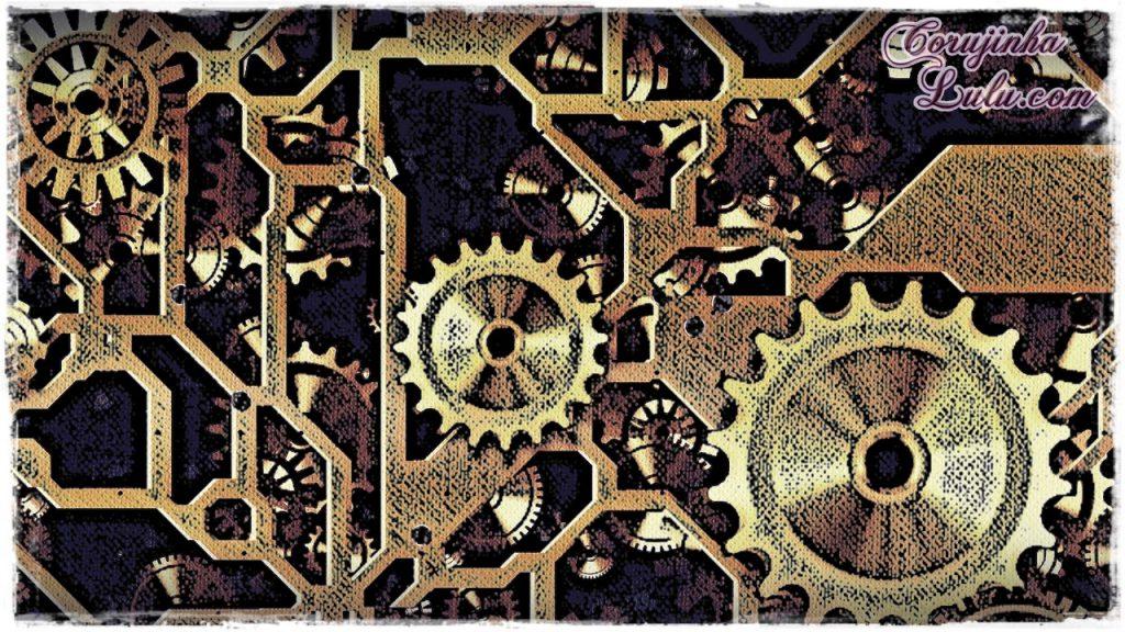 Mensagem para reflexão: trabalhador engrenagem relógio clock