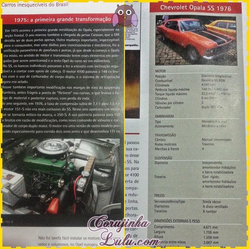 Ficha Técnica do Chevrolet Opala SS 1976 - Planeta DeAgostini carros antigos