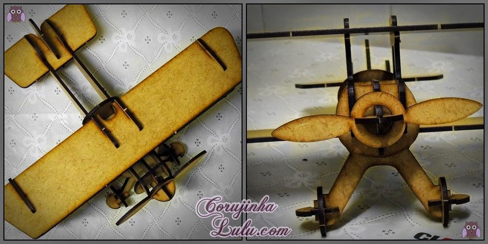 Quebra-cabeça 3D - Biplano Cia Laser puzzle madeira aviãozinho biplane aeromodelismo aeronave mdf