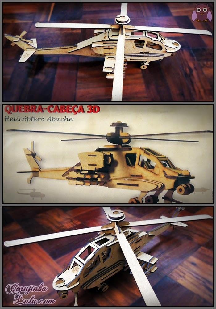 Quebra-cabeça 3D - Helicóptero Apache (Cia Laser) avião aeronaves aeromodelismo mdf madeira puzzle helicopter