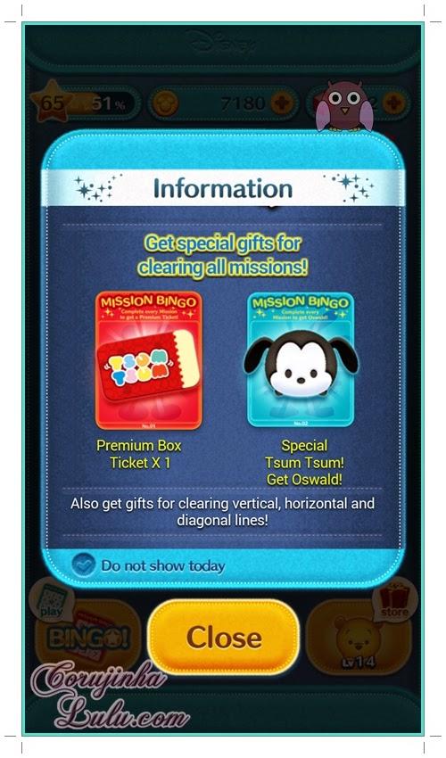 Gameplay: Prêmios do Bingo | ©CorujinhaLulu.com tsum tsum disney line dicas celular game jogo aplicativo app