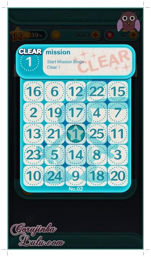 Gameplay: Cartela do Bingo | ©CorujinhaLulu.com tsum tsum disney line dicas celular game jogo aplicativo app