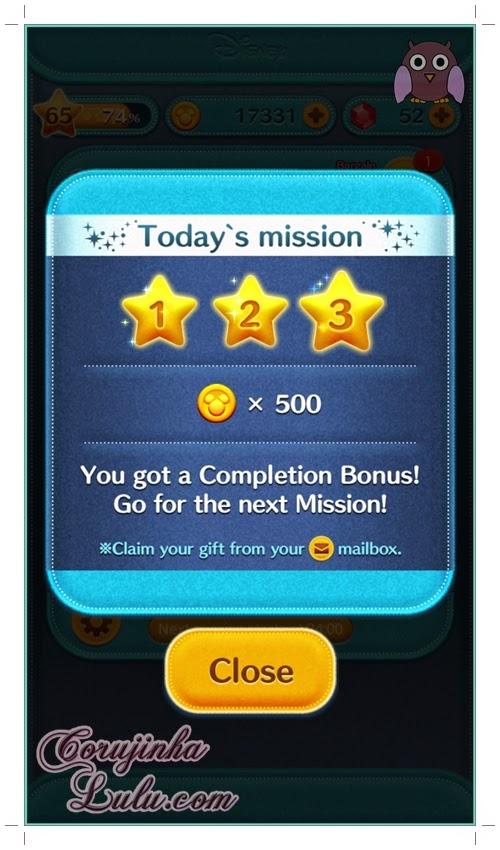 Gameplay: Agora são 3 missões diárias | ©CorujinhaLulu.com tsum tsum disney line dicas celular game jogo aplicativo app bingo