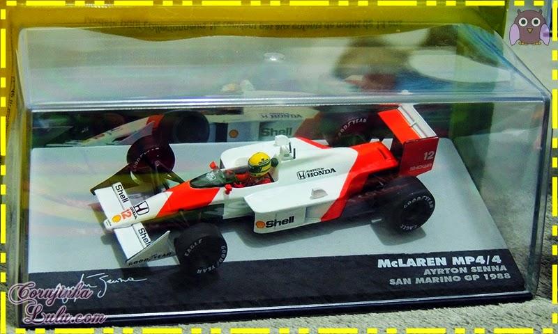 Coleção Lendas Brasileiras do Automobilismo ayrton senna carros carrinhos fórmula 1 piloto mclaren mp4/4 san marino gp 1988 Eaglemoss