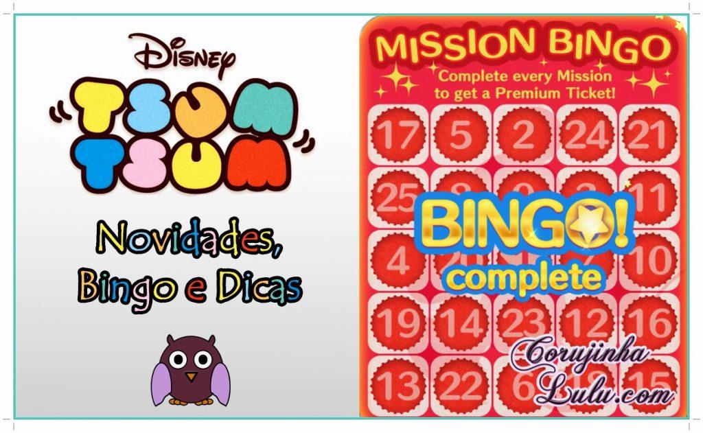 Novidades do game Tsum Tsum da Disney: Bingo e Dicas Line celular aplicativo app gameplay jogo mission missão