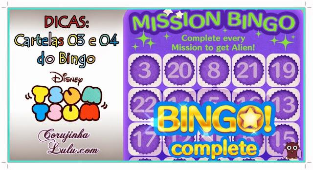 Dicas para os Bingos 3 e 4 do Tsum Tsum disney game jogo aplicativo app celular smartphone tablet cartela missão mission evento tarefa bingo