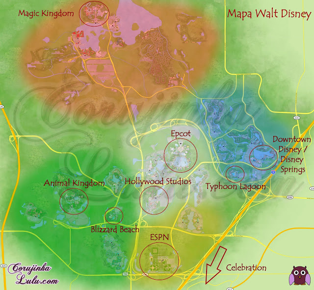 Mapa area orlando florida usa eua estados unidos map Parques da Walt Disney World epcot map downtown springs animal kingdom magic celebration typhoon lagoon blizzard beach espn hollywood studios mgm ©CorujinhaLulu.com