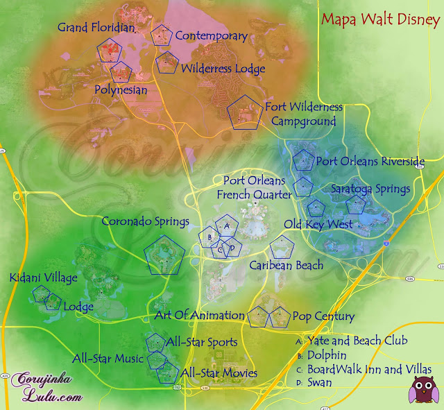 Mapa area com Resorts da Walt Disney World orlando florida usa eua estados unidos map polynesian wilderress Lodge Coronado Springs Art of Animation All-Star Sports Music Movies Pop Century Grand Floridian  | ©CorujinhaLulu.com