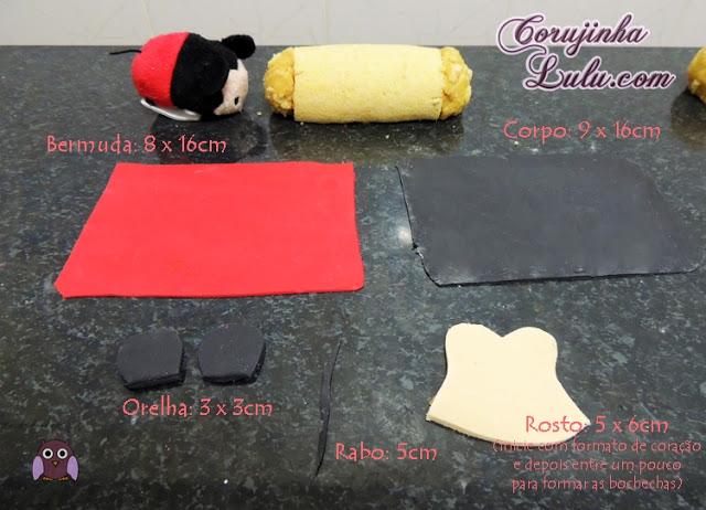 Bolo Rocambole Mickey e Minnie Mouse Tsum Tsum Disney nutella paçoquita line fondant roll cake  | ©CorujinhaLulu.com