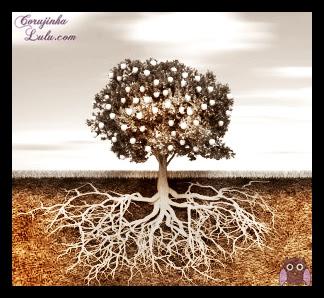 Mensagem para reflexão: A mais alta das torres começa no solo árvore raízes fortes base estrutura firme