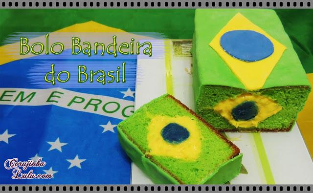 Bolo Bandeira do Brasil - De Bico Cheio debicocheio brasileira brasileiro fondant em cada fatia brazilian flag of Brazil Brazil's | ©CorujinhaLulu.com