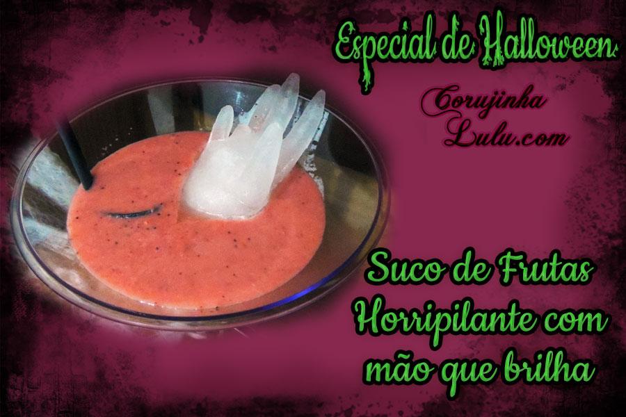 Receita suco de frutas morango kiwi que brilha no escuro luz negra leite condensado mão água tônica halloween dia das bruxas  ©corujinhalulu.com corujinha lulu corujinhalulu