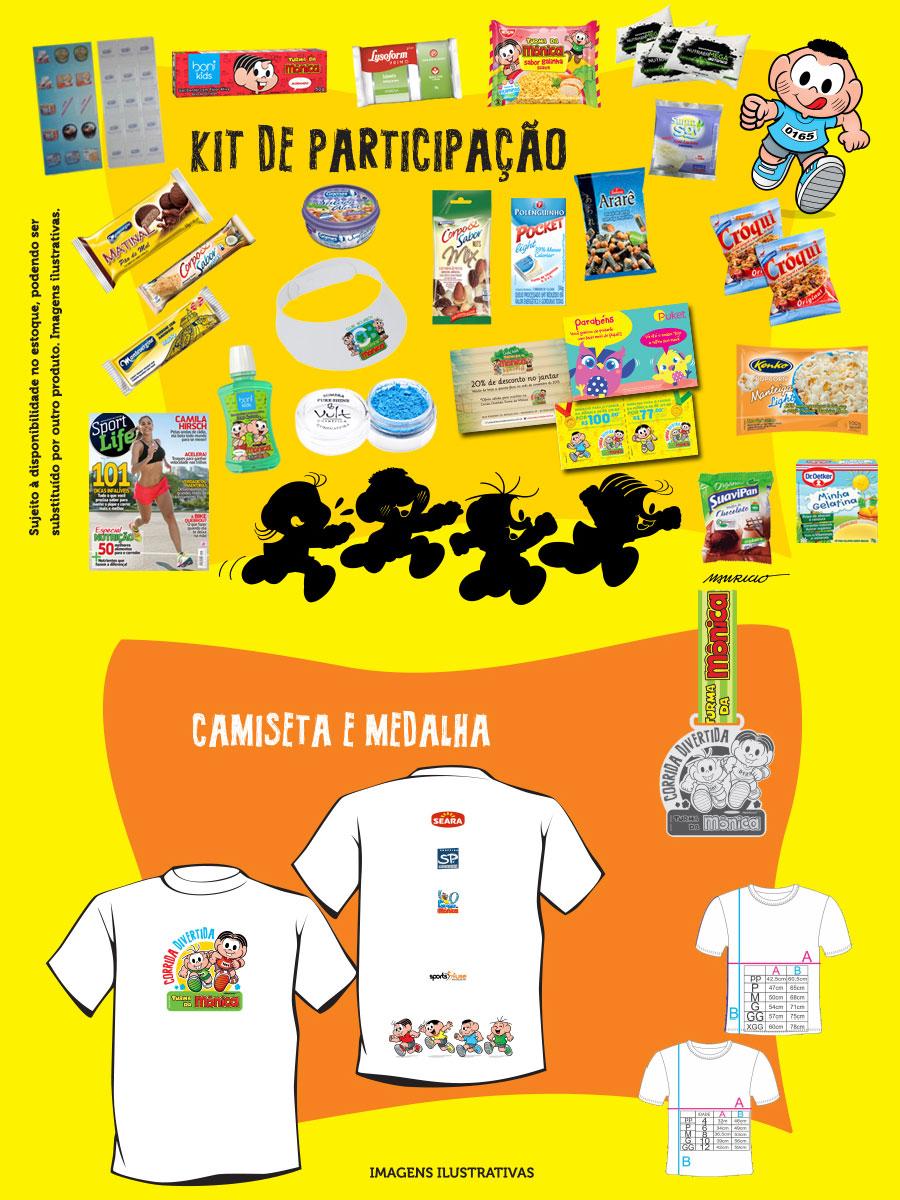 kit de participação corrida divertida turma da monica corujinhalulu mauricio de sousa