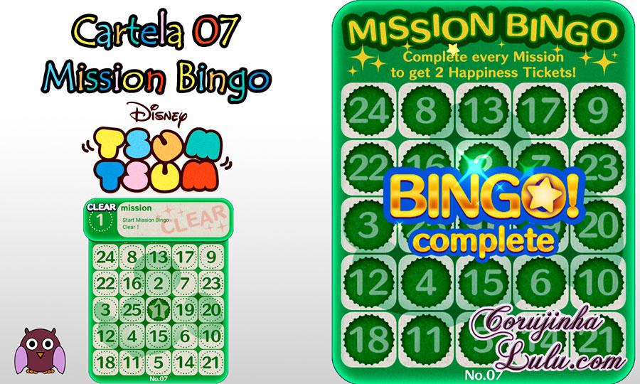 tsum tsum mission bingo missão card 7 cartela corujinhalulu