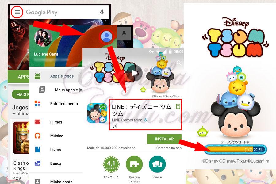 baixando conta google japão como instalar versão japonesa jogo tsum tsum mobile e manter progresso game internacional corujinhalulu | ©CorujinhaLulu.com