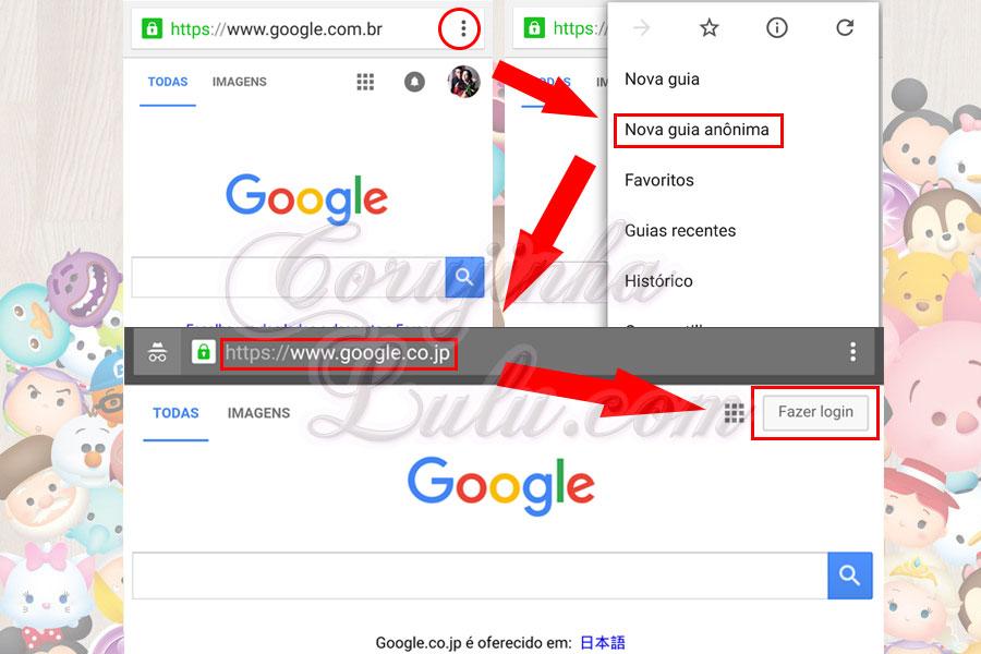 criando conta google japao como instalar versão japonesa jogo tsum tsum mobile e manter progresso game internacional corujinhalulu | ©CorujinhaLulu.com