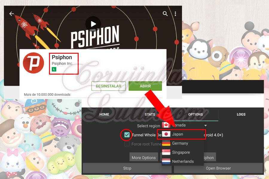 psiphon japao como instalar versão japonesa jogo tsum tsum mobile e manter progresso game internacional corujinhalulu | ©CorujinhaLulu.com