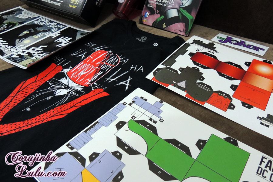 paper craft coringa the joker camisa camiseta poster Unboxing Fan Box DC Comics 1 e 2 dezembro de 2015 janeiro de 2016 Warner Batman Joker Coringa Superheróis super homem heróis mulher maravilha warner bros corujinha lulu corujinhalulu