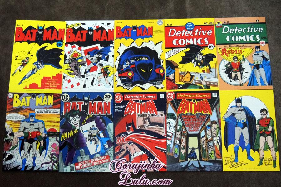 postais cards hqs batman robin Unboxing Fan Box DC Comics 1 e 2 dezembro de 2015 janeiro de 2016 Warner Batman Joker Coringa Superheróis super homem heróis mulher maravilha warner bros corujinha lulu corujinhalulu