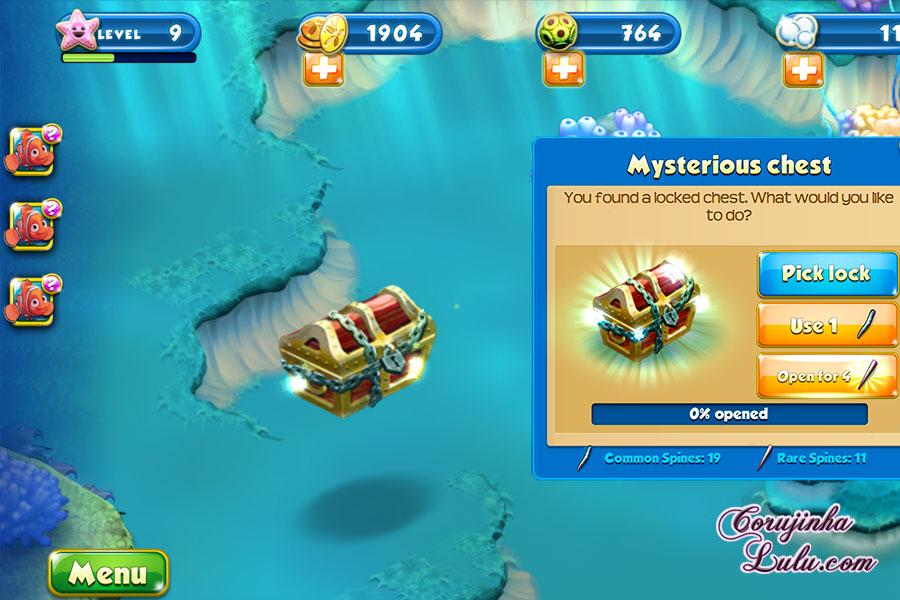 App Nemo's Reef: o jogo da Disney Pixar + dicas procurando nemo dory game peixes raros recife coral celular smartphone baú chest corujinhalulu | ©CorujinhaLulu.com