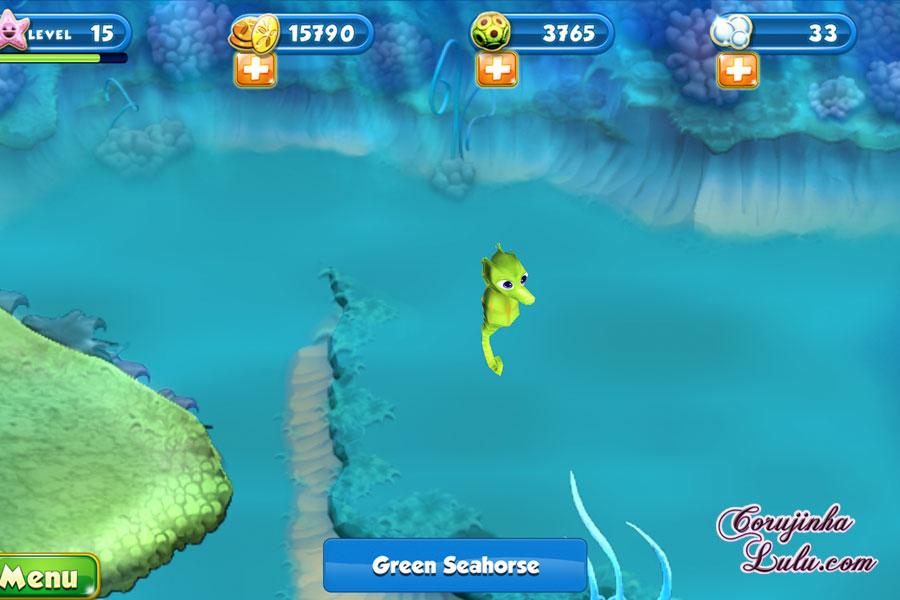 App Nemo's Reef: o jogo da Disney Pixar + dicas procurando nemo dory game peixes raros recife coral green seahorse cavalo-marinho verde cavalo marinho celular smartphone corujinhalulu | ©CorujinhaLulu.com