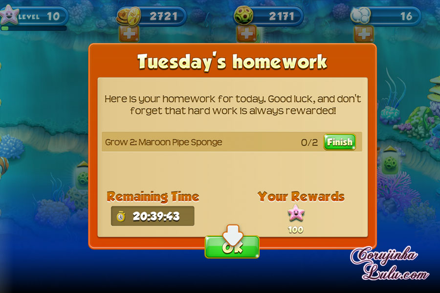 nemos reef homework button