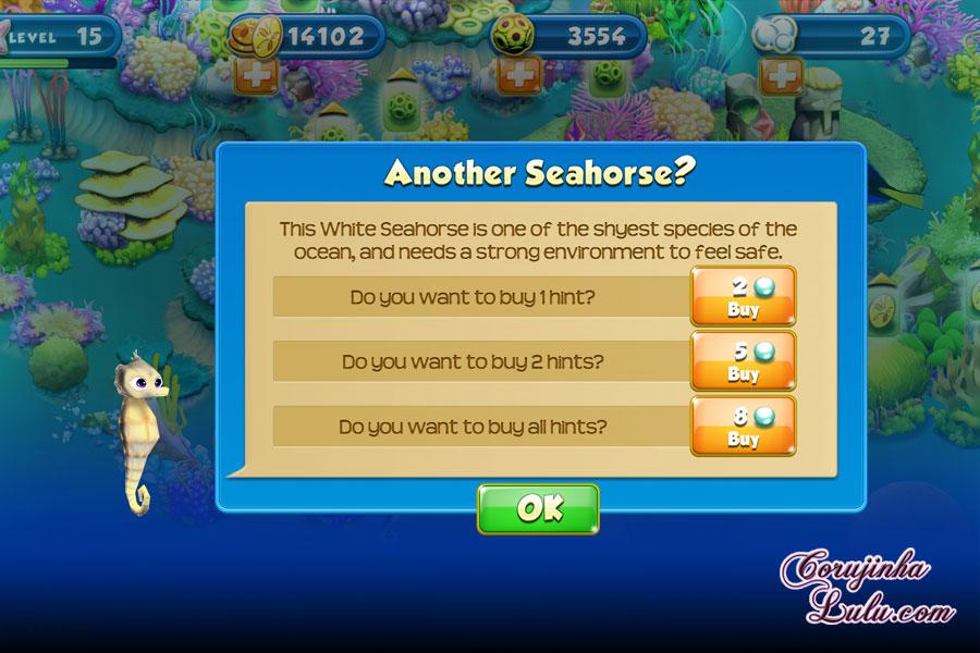 App Nemo's Reef: o jogo da Disney Pixar + dicas procurando nemo dory game peixes raros recife coral white seahorse cavalo-marinho branco cavalo marinho celular smartphone corujinhalulu aplicativo |gameplay ©CorujinhaLulu.com