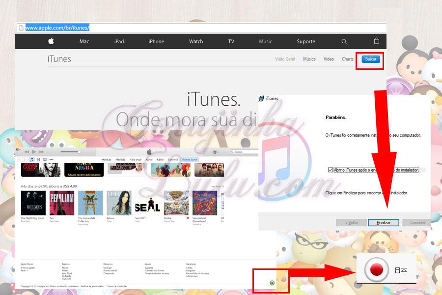 tutorial passo a passo como instalar tsum tsum japones mobile versao japonesa ios iphone ipad line itunes apple corujinhalulu