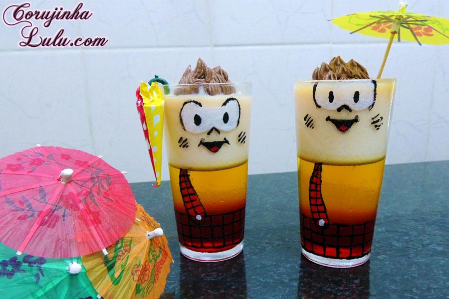receita de bico cheio doce sobremesa de gelatina do Cascão Turma da Mônica Mauricio de Sousa chocolate leite condensado chantili corujinhalulu ©CorujinhaLulu.com