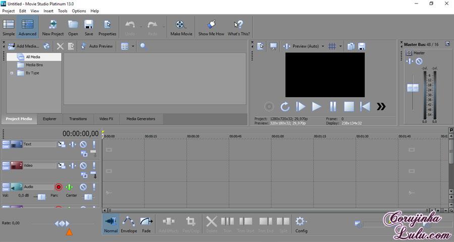 passo a passo tutorial para iniciantes edição de vídeo noções básicas sony vegas movie studio platinum 13 sobreposições marca dágua d água corujinhalulu ©CorujinhaLulu.com