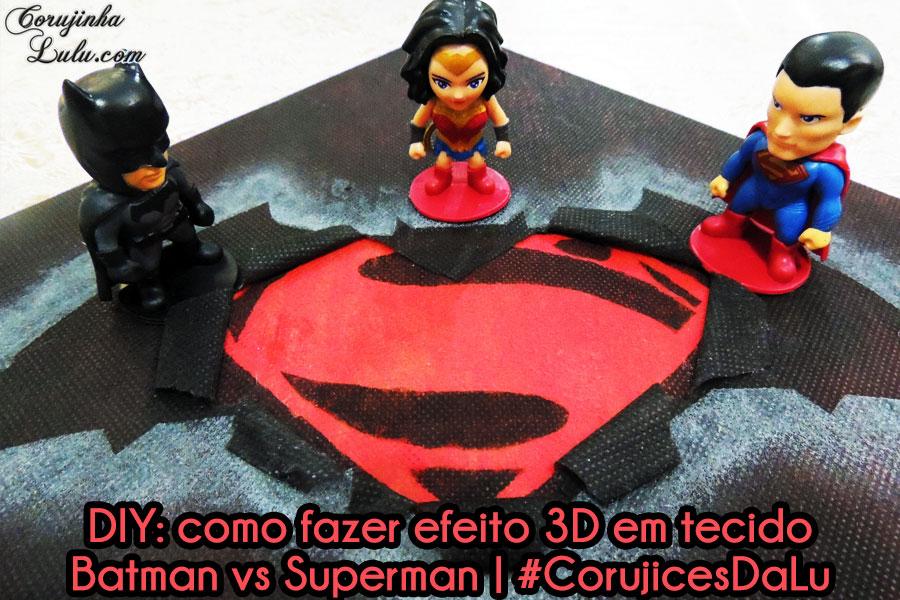 diy faça você mesmo mesma efeito 3d em tecido logo símbolo batman vs superman batman v superman super homem morcego mulher maravilha filme dc comics super heróis passo a passo tutorial artesanato quadrinho