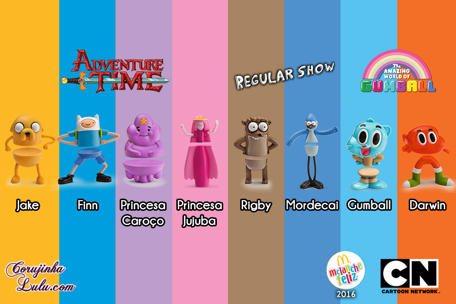 unboxing coleção mc donalds donald's mc lanche feliz 2016 cartoon network adventure time hora de aventura the amazing world of o incrível mundo de gumball apenas um show regular action figures corujinhalulu