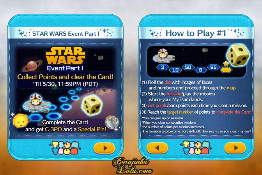 dicas gameplay jogo game móvel mobile disney tsum tsum event evento star wars part parte 1 luke skywalker yoda r2d2 princesa leia c3po darth vader rey kylo ren  bb8 guerra nas estrelas corujinhalulu corujinha lulu