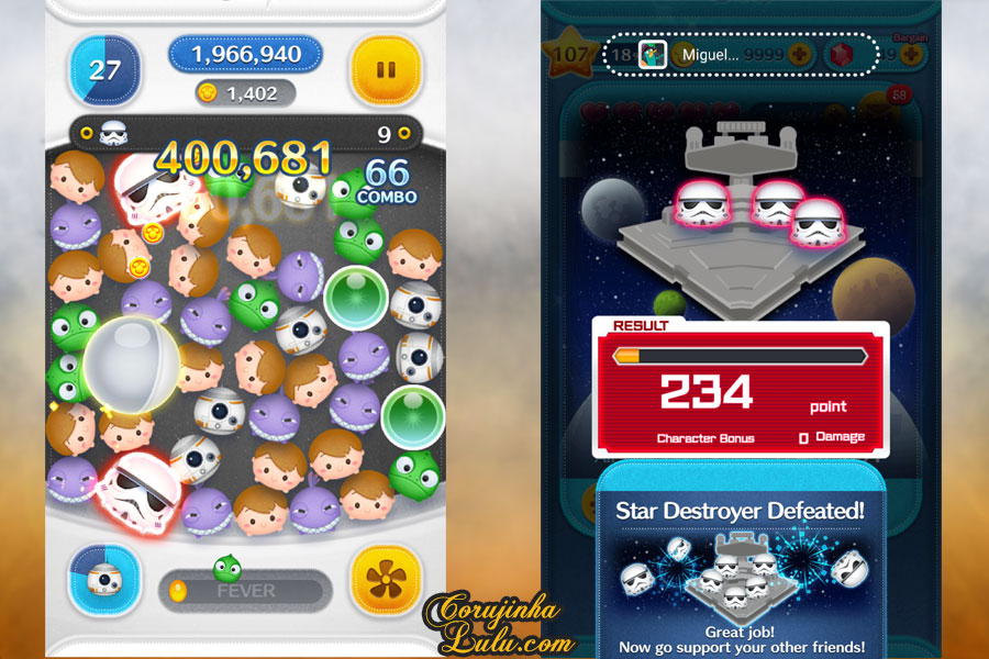 dicas gameplay jogo game móvel mobile disney tsum tsum event evento star wars part parte 2 luke skywalker yoda r2d2 princesa leia c3po darth vader rey kylo ren  bb8 stormtrooper guerra nas estrelas corujinhalulu corujinha lulu