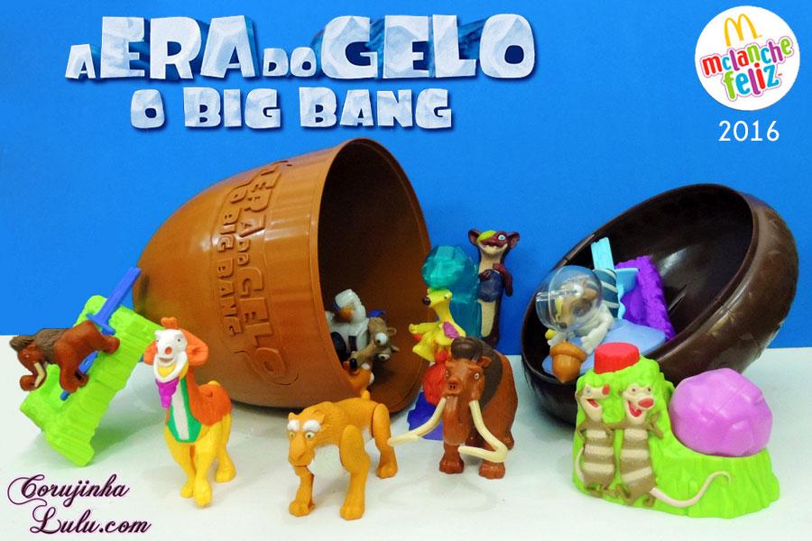 coleção completa a era do gelo 5 o big bang filme desenho mc donalds donald's mc lanche feliz cajita feliz happy meal 2016 corujinhalulu