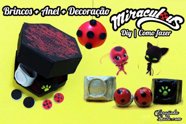 Diy Miraculous: Como fazer Brincos da Ladybug e Anel do Cat Noir + Decoração | Corujices da Lu
