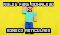 Download gratuito grátis como fazer diy faça você mesmo Molde Boneco articulado / Chaveiro - Minecraft corujices da lu corujinhalulu corujinha lulu ©CorujinhaLulu.com