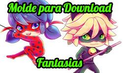 Download gratuito grátis Molde Fantasia Ladybug Chat Gato Cat Noir Fantasias Cosplay Miraculous As Aventuras de Ladybug corujinhalulu corujinha lulu ©CorujinhaLulu.com