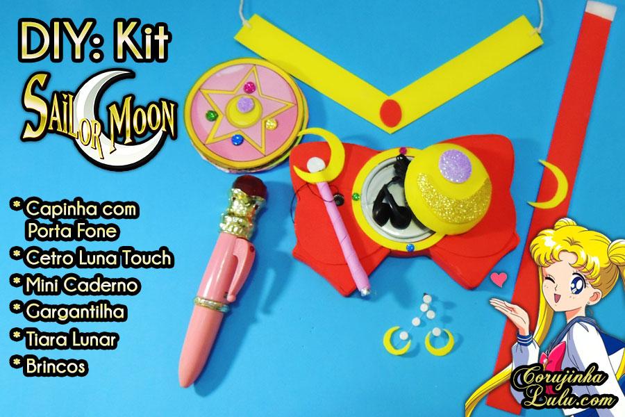 Diy Anime: Kit Sailor Moon com Tiara Lunar + Gargantilha + Brincos + Caderno + Capinha de Celular / Tablet com porta fone de ouvido + Cetro Lunar Touch - Corujices da Lu | faça você mesmo tutorial passo a passo manualidades Serena Luna Faça Você Mesmo grátis em casa ©CorujinhaLulu.com corujinhalulu corujinha lulu #corujicesdalu
