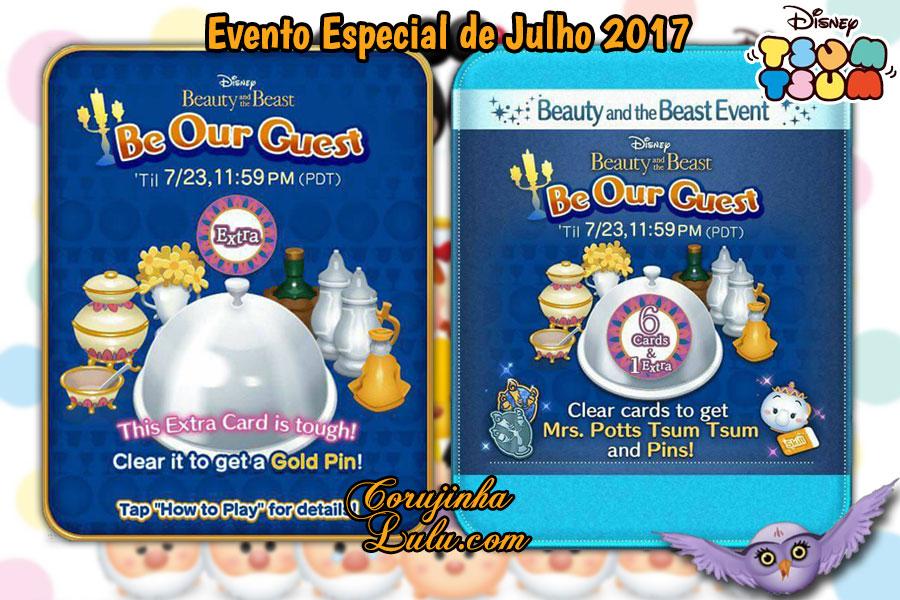 Disney Tsum Tsum - Be Our Guest é o Evento Especial de Julho 2017 | a bela e a fera live action live-action game jogo app aplicativo celular mobile tablet grátis gratuito kawaii ©CorujinhaLulu.com corujinha lulu corujinhalulu