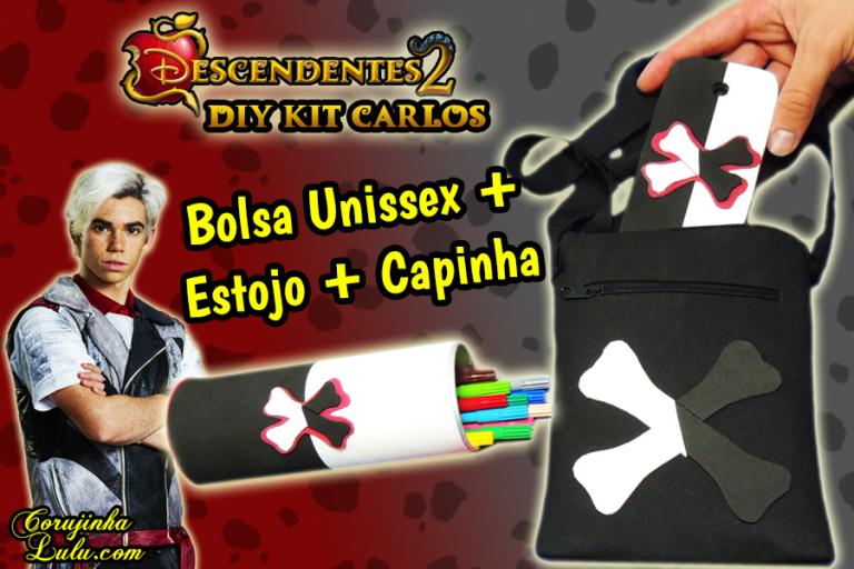 Diy Disney Descendentes 2 - Como Fazer Kit Carlos De Vil com Capinha de Celular + Estojo + Bolsa Unissex | Corujices da Lu