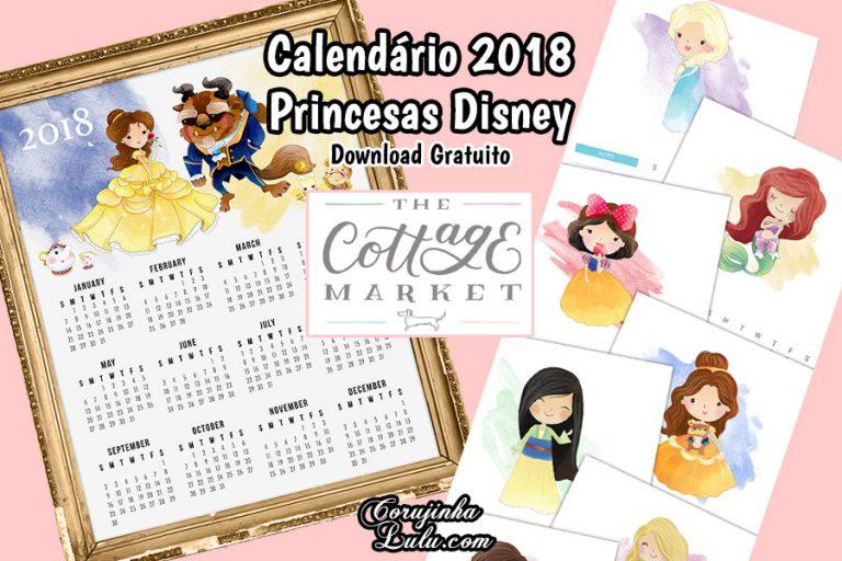 Calendário 2018 das Princesas Disney (Grátis)